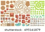 vector set. castle top view.... | Shutterstock .eps vector #695161879