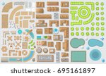 set of landscape elements.... | Shutterstock .eps vector #695161897