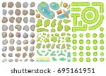 set of park elements.  top view ... | Shutterstock .eps vector #695161951
