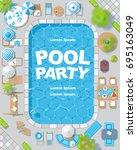 vector background. summer pool... | Shutterstock .eps vector #695163049