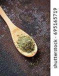 mixed italian herbs seasoning...   Shutterstock . vector #695165719