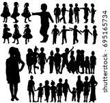 silhouette children  set  group | Shutterstock . vector #695165734