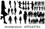 isolated silhouette children... | Shutterstock . vector #695165761