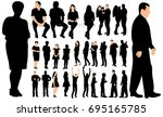 silhouette people  set | Shutterstock . vector #695165785