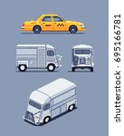 taxi and van  pixel art sprites ... | Shutterstock .eps vector #695166781