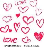 vector hand painted ink... | Shutterstock .eps vector #695167231