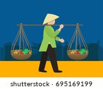 vietnamese woman in a straw hat | Shutterstock .eps vector #695169199