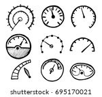 collection of hand drawn... | Shutterstock .eps vector #695170021
