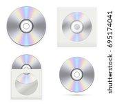set of the cd disks. vector... | Shutterstock .eps vector #695174041