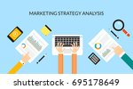 flat vector marketing strategy... | Shutterstock .eps vector #695178649