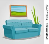 a cozy sofa in a bright room... | Shutterstock .eps vector #695178949