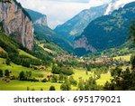 summer scenery of beautiful...   Shutterstock . vector #695179021