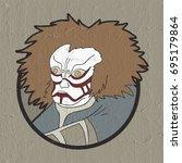 nice oriental mask face | Shutterstock . vector #695179864
