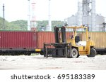 oil refinery and container... | Shutterstock . vector #695183389