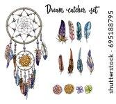 set of hand drawn ornate dream... | Shutterstock .eps vector #695188795