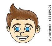 boy blue eyes  happy child icon ... | Shutterstock .eps vector #695189101