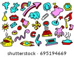abstract set with many items.... | Shutterstock .eps vector #695194669
