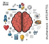 colorful poster the brain in... | Shutterstock .eps vector #695199751