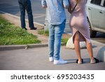 a guy and a girl with a sports... | Shutterstock . vector #695203435
