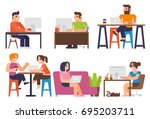 freelancers  online working | Shutterstock .eps vector #695203711