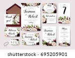 wedding invitation flower... | Shutterstock .eps vector #695205901