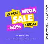 black friday sale banner for... | Shutterstock . vector #695208925