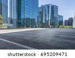 empty floor with modern... | Shutterstock . vector #695209471