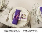 top view of served table | Shutterstock . vector #695209591