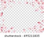 pink flower petal confetti... | Shutterstock .eps vector #695211835