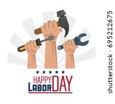 colorful poster of happy labor... | Shutterstock .eps vector #695212675