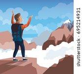 colorful daytime landscape of... | Shutterstock .eps vector #695214931