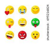 cute emoticons. emoji smile... | Shutterstock .eps vector #695216824