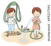 vector illustration of two... | Shutterstock .eps vector #695217541
