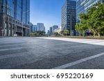 empty floor with modern... | Shutterstock . vector #695220169