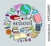 school doodle colorful set.... | Shutterstock .eps vector #695220895