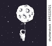 little astronaut flies and...   Shutterstock .eps vector #695222521