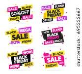 black friday sale banners set... | Shutterstock . vector #695223667