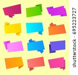 set of ribbon and stickers... | Shutterstock . vector #695223727