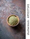 mixed italian herbs seasoning... | Shutterstock . vector #695227141