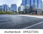 empty road with modern business ... | Shutterstock . vector #695227201