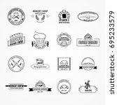 set of vector bakery logos....   Shutterstock .eps vector #695233579