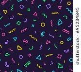 memphis seamless pattern on... | Shutterstock . vector #695234845