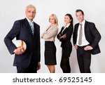 Strong competitive business team - stock photo