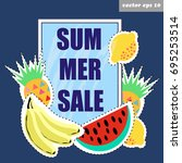 summer sale vector banner... | Shutterstock .eps vector #695253514