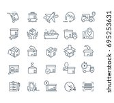 set of delivery icons black... | Shutterstock . vector #695253631