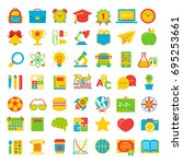 set of back to school and... | Shutterstock . vector #695253661