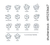 set of box icons black color...   Shutterstock . vector #695253667