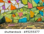 colorful mosaic flooring or... | Shutterstock . vector #695255377