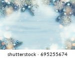 christmas fir tree with... | Shutterstock . vector #695255674
