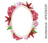 oval frame with watercolors... | Shutterstock . vector #695256229